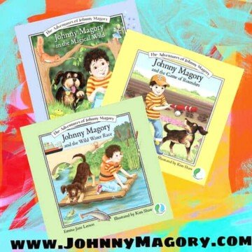 Children's picture books with text overlay