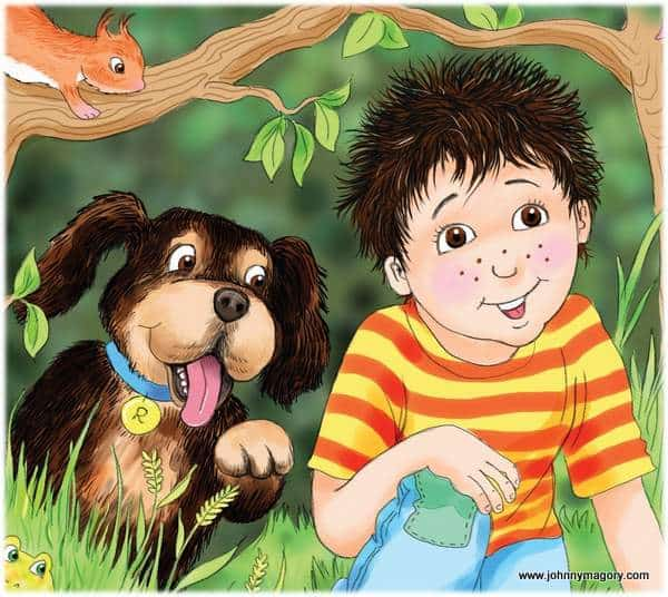 A dark haired boy and a dog in a book illustration