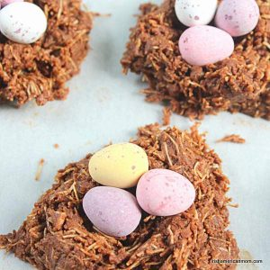 Mini eggs on shredded wheat chocolate Easter nests