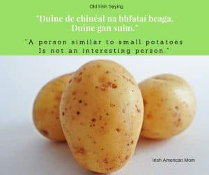 Small potatoes saying from Ireland