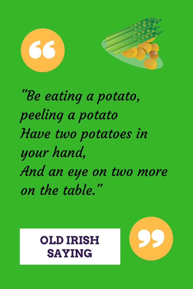 A green graphic with text and an image of potatoes