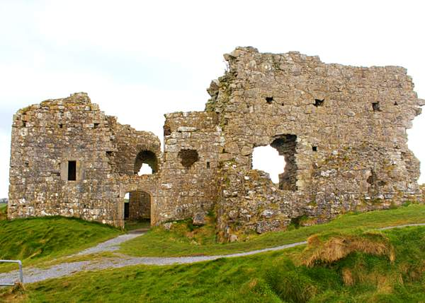 The ruined remains of a stone castle