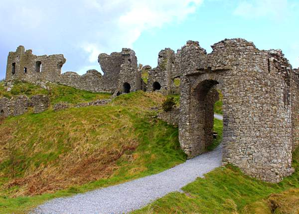 Entrance gateway on the Rock of Dunamase in County Laois, Ireland