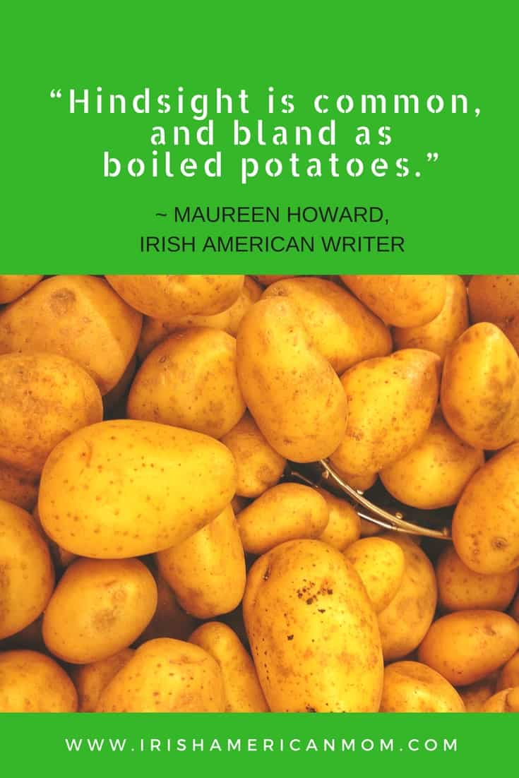 Green graphic featuring text and unpeeled potatoes