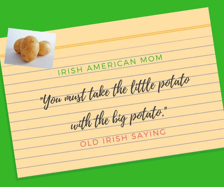 Text on lined paper on a green graphic with an image of potatoes