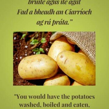 text on a green graphic with potatoes in a sack on the dirt
