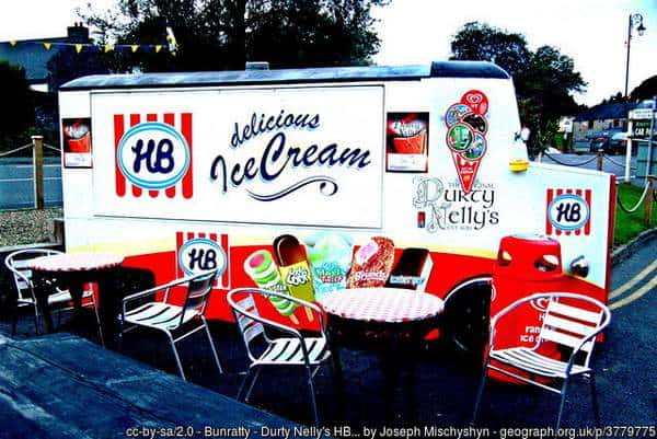 An Irish HB ice cream truck beside Durty Nelly's restaurant in Bunratty