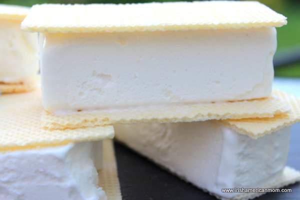 A stack of Irish style vanilla ice cream sandwiches