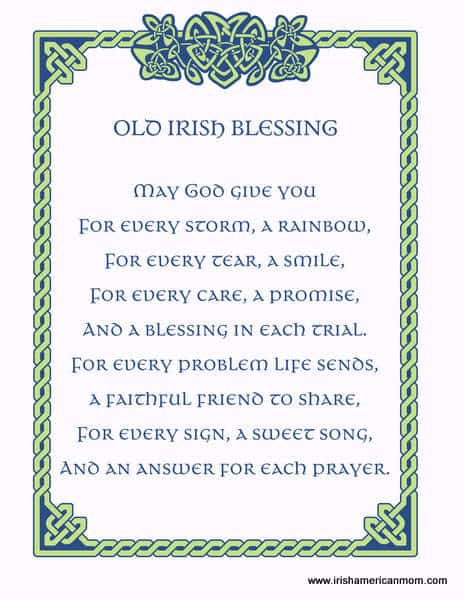 An old Irish blessing printable with Celtic knot work frame in green and blue