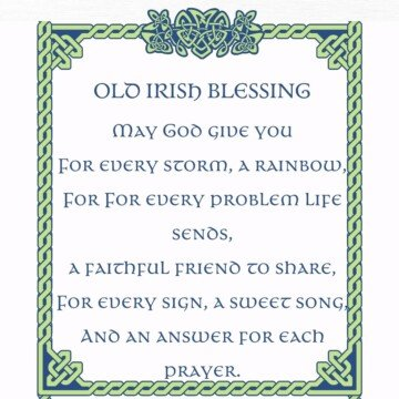 A graphic for an old Irish rainbow blessing featuring a Celtic scroll frame