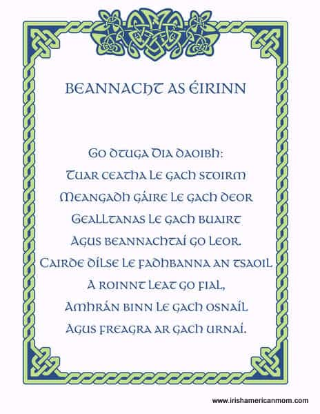 An old Irish blessing in the Irish or Gaelic language featuring Celtic script and a Celtic knot frame