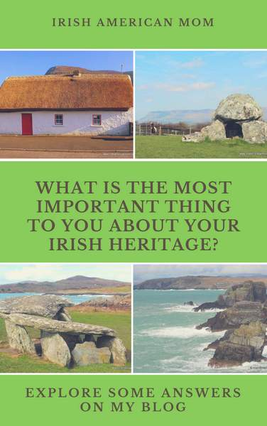 Picture collage showing a thatched cottage, a dolmen, sea cliffs and a wedge tomb in Ireland.