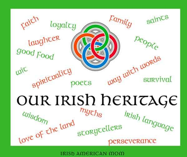 Irish heritage word art with a four spiral graphic in red, blue, green and orange.