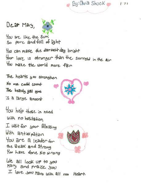 Handwritten poem with hearts and flowers