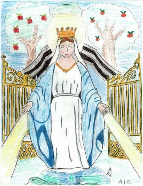 A woman with a crown and light emanating from her hands