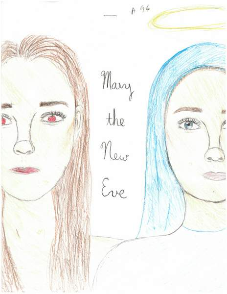 Two drawings of women\'s faces