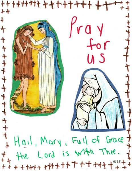 Child artwork showing Mary mother of Jesus