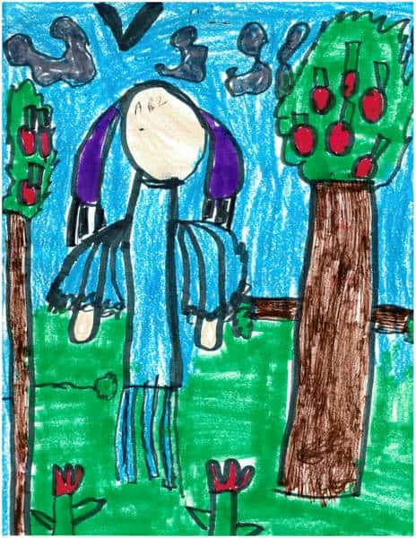 Child\'s painting of a lady in blue beside apple trees
