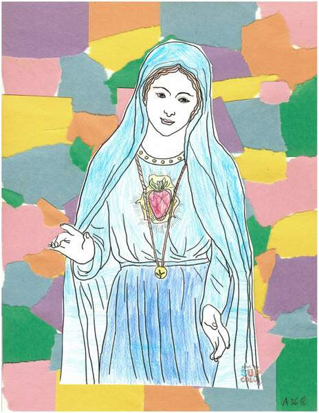 A crayon coloring picture of Holy Mary