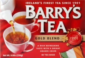 a red box of tea bags featuring two cups of tea