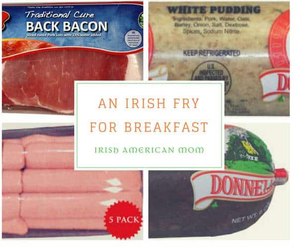 Collage of sausage, bacon and breakfast puddings with text