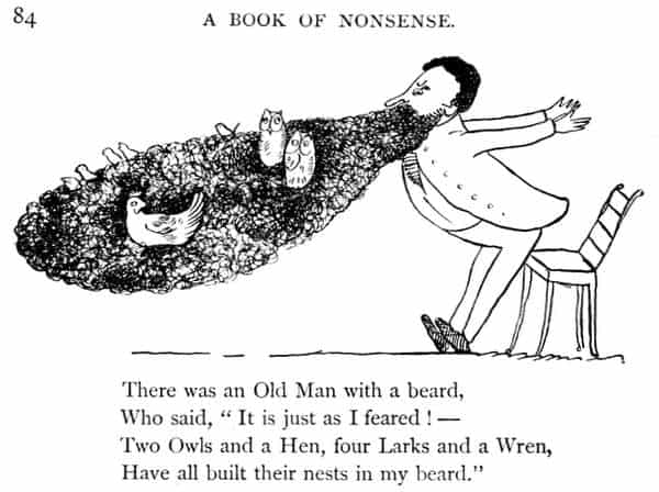 a vintage black and white cartoon featuring a ban with a beard with animals living in it