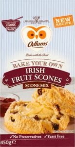 Image of a packet of Odlums Irish Fruit Scone Mix featuring the Odlums Owl symbol and a halved buttered scone