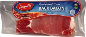 Bacon or rashers uncooked in a packet