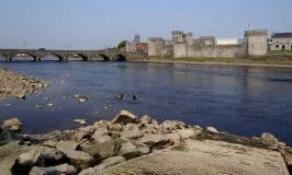 Castle on the banks of the river Shannon in Limerick
