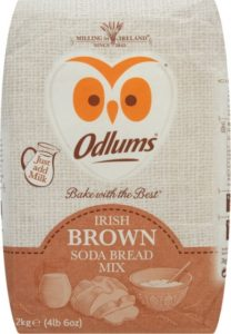 Soda bread mix packet with owl emblem