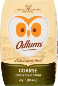 An owl logo on a packet of wholewheat flour