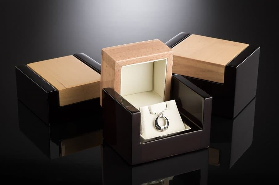 A box with a necklace on a table