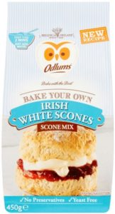an owl logo on a scone baking mix packet