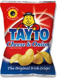 Logo on a bag of cheese and onion crisps or potato chips