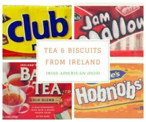 Irish biscuits or cookies photo collage with text