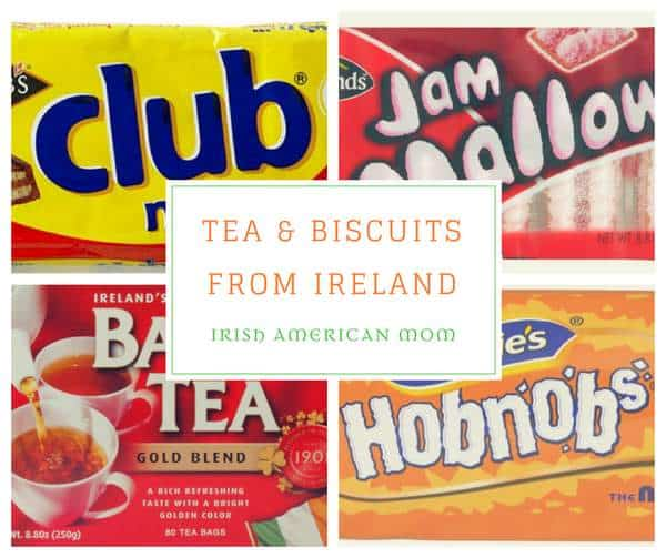 Collage of biscuit packets with text