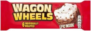 red packet featuring a wagon wheel marshmallow biscuit or cookie