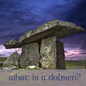 A dolmen with a purple sky as backdrop and text overlay