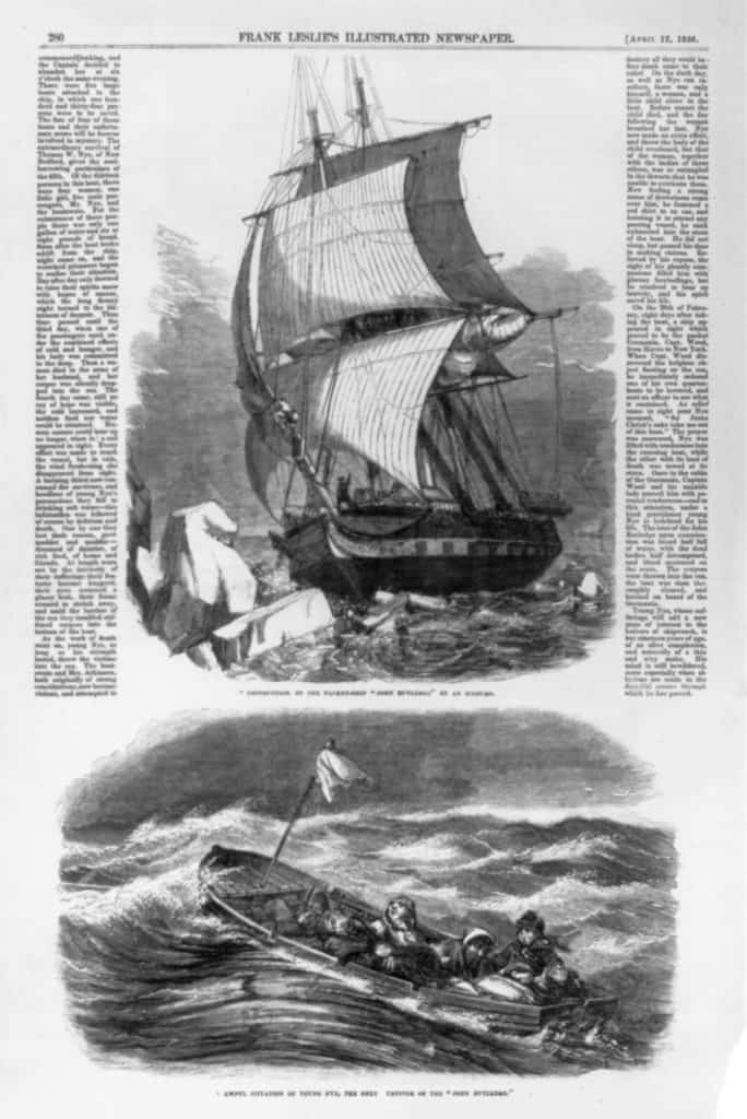 Ship and boat from a newspaper clipping
