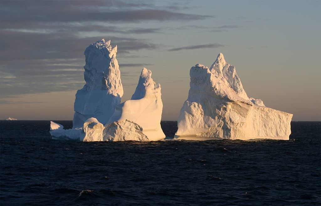 An iceberg drifting in the ocean