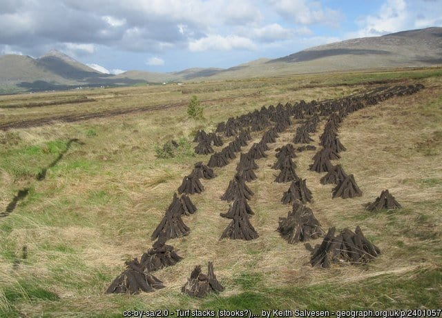 A field with turf or peat and a mountain in the background
