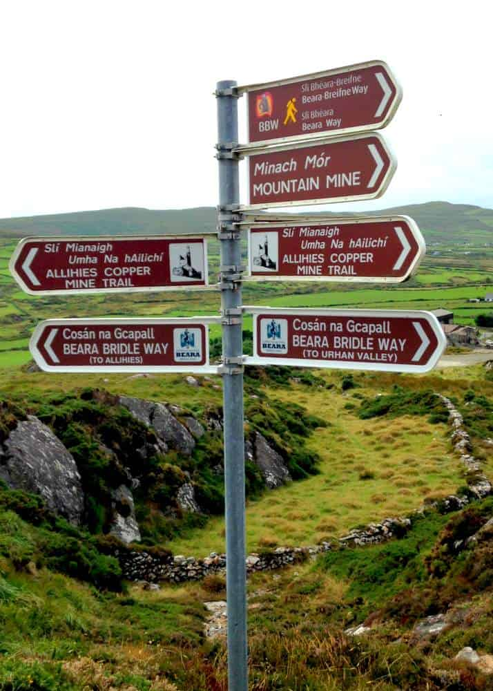 Road sign showing the Beara Bridle Way