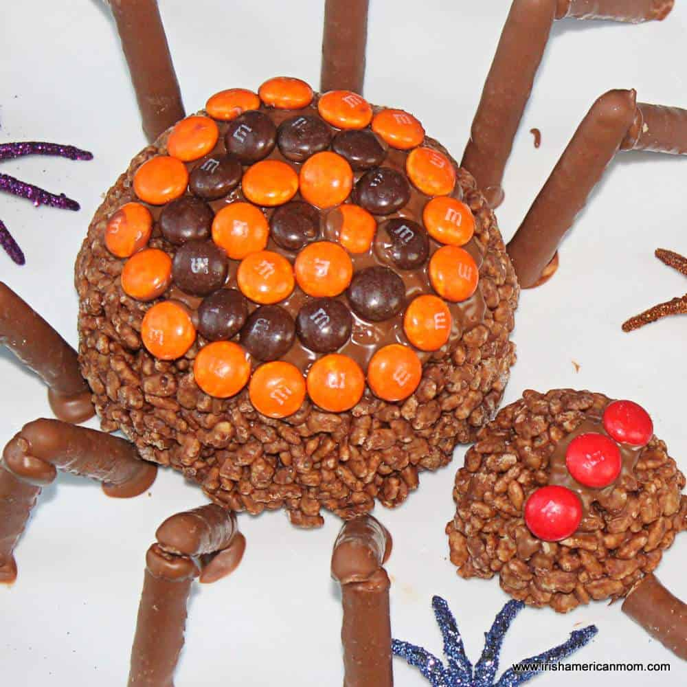 Decorated homemade chocolate spider for Halloween
