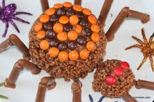 Halloween spiders made with rice cereal and chocolate