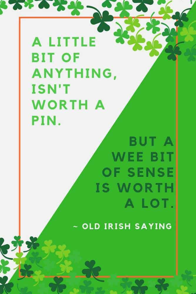 Graphic featuring an Irish saying with green shamrocks