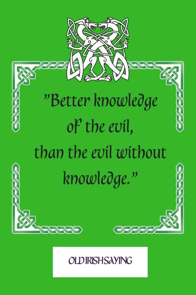 Text on a green graphic with Celtic knotwork