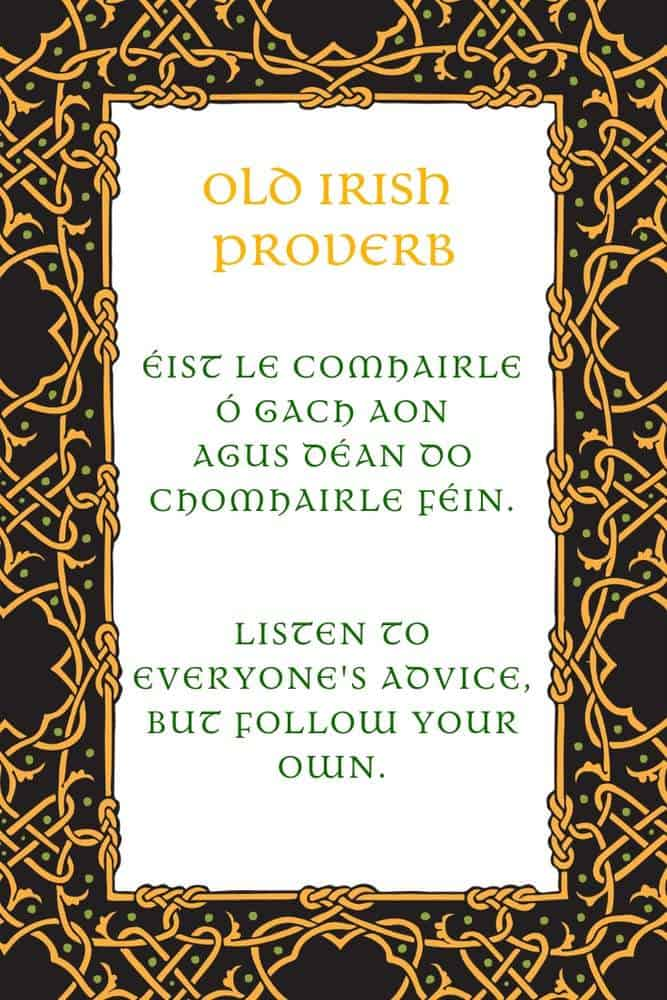 Text on a graphic with Celtic knotwork borders