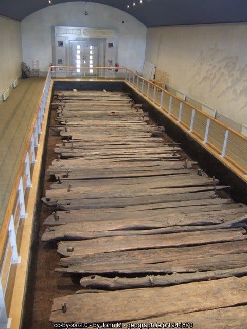 Ancient wooden boards on display