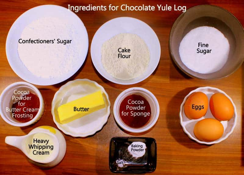 Ingredients for making chocolate cake