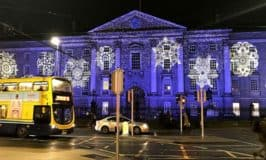 View of Trinity College Dublin lit up for Christmas